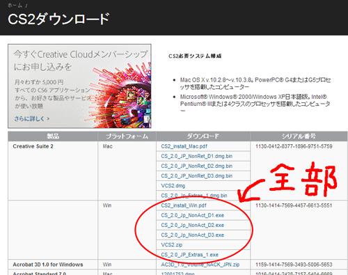AdobeCS2のダウンロード